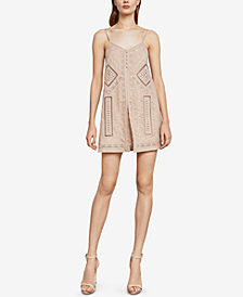BCBGMAXAZRIA Hartley Embroidered Slip Romper