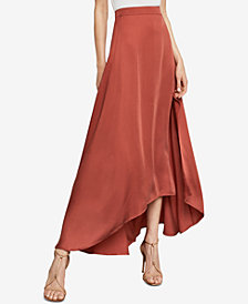 BCBGMAXAZRIA Jillian Asymmetrical Satin Maxi Skirt