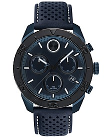 Men's Swiss BOLD Chronograph Navy Perforated Leather Strap Watch 44.5mm
