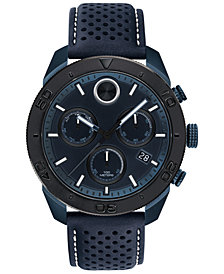 Movado Men's Swiss BOLD Chronograph Navy Perforated Leather Strap Watch 44.5mm