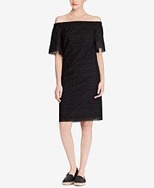 Lauren Ralph Lauren Petite Off-The-Shoulder Cotton Shift Dress