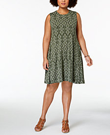 Style & Co Plus Size Printed Trapeze Dress, Created for Macy's