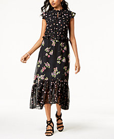 Taylor Mixed-Floral Ruffled Keyhole Midi Dress