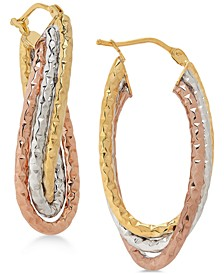 Tricolor Twisted Oval Hoop Earrings in 14k Gold, White Gold & Rose gold