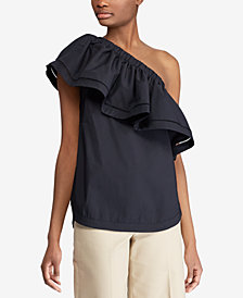 Lauren Ralph Lauren Ruffled One-Shoulder Top