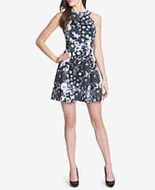 GUESS Printed Scuba A-Line Dress