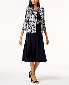 Jessica Howard Dress & Floral-Print Jacket
