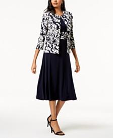 Jessica Howard Dress & Floral-Print Jacket