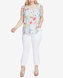 RACHEL Rachel Roy Trendy Plus Size Printed Ruffled Top