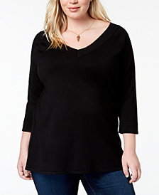 525 America Plus Size V-Neck Tunic Top, Created for Macy's