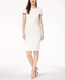 Calvin Klein Daisy-Lace Puff-Sleeve Dress
