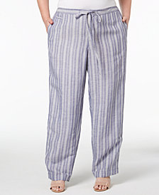Anne Klein Plus Size Striped Drawstring Pants