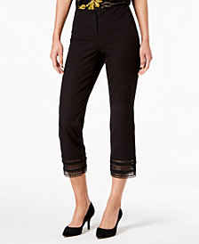 Alfani Petite Crochet-Hem Ankle Pants, Created for Macy's