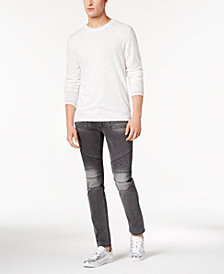 I.N.C. Crew-Neck Sweater & Zig Zag Moto Skinny Jeans, Created for Macy's