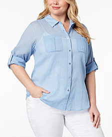 Calvin Klein Plus Size Cotton Crinkle Shirt