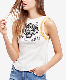Free People Embroidered Moto Tank Top