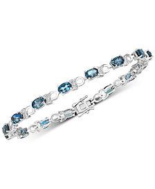 London Blue Topaz (7-1/2 ct. t.w.) & Diamond Accent Bracelet in Sterling Silver