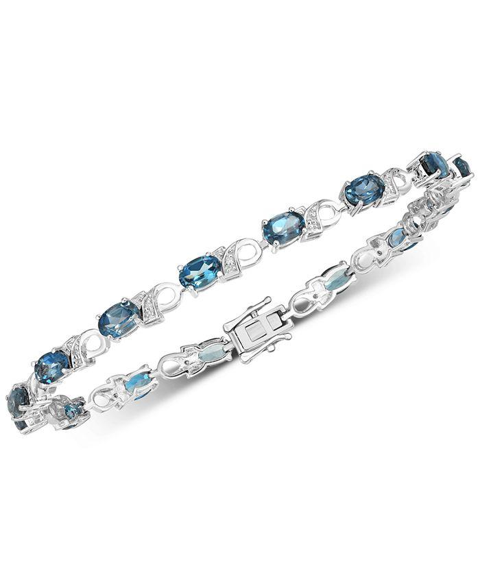 Macy's - London Blue Topaz (7-1/2 ct. t.w.) & Diamond Accent Bracelet in Sterling Silver