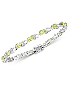Peridot (6 ct. t.w.) & Diamond Accent Link Bracelet in Sterling Silver (Also available in Garnet, Amethyst, Mystic Topaz)