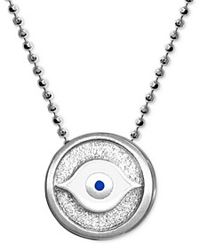 "Textured & Enamel Evil Eye 16"" Pendant Necklace in Sterling Silver"