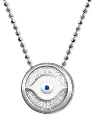 "Textured & Enamel Evil Eye 16"" Pendant Necklace in Sterling Silver"