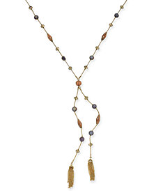 "I.N.C. Gold-Tone Crystal, Bead & Chain Tassel Lariat Necklace, 28"" + 3"" extender, Created for Macy's"