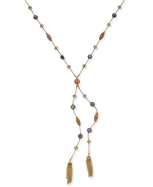 """INC International Concepts INC Gold-Tone Crystal, Bead & Chain Tassel Lariat Necklace, 28"""" + 3"""" extender, Created for Macy's"""