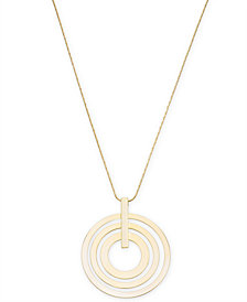 "I.N.C. Gold-Tone Triple-Row Circle Pendant Necklace, 34"" + 3"" extender, Created for Macy's"