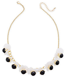 "I.N.C. Gold-Tone Disc & Stone Necklace, 21"" + 3"" extender, Created for Macy's"
