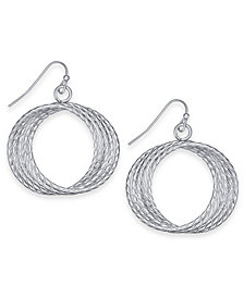 "Thalia Sodi Silver-Tone Multi-Ring Medium 1.3"" Drop Hoop Earrings, Created for Macy's"