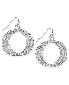 "Thalia Sodi Silver-Tone Multi-Ring Medium 1.3"" Drop Hoop Earrings, Created for Macy's"
