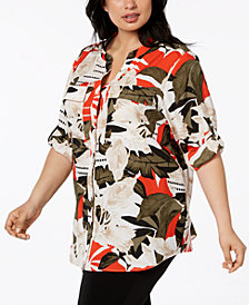 Calvin Klein Plus Size Printed Roll-Tab Sleeve Top