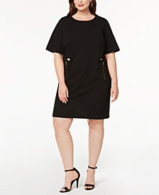 Calvin Klein Plus Size Zipper-Trim Dress