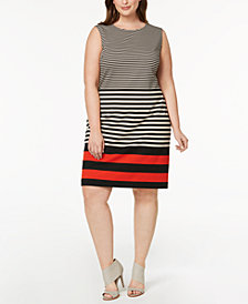Calvin Klein Plus Size Mixed-Stripe Shift Dress
