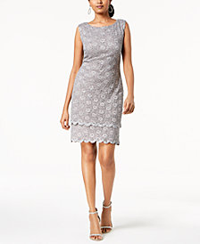 Connected Petite Sequined Lace Sheath Dress