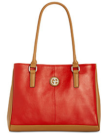 Giani Bernini Nappa Colorblock Top-Handle Tote, Created for Macy's