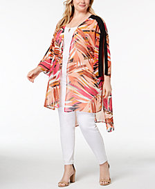 NY Collection Plus Size High-Low Kimono