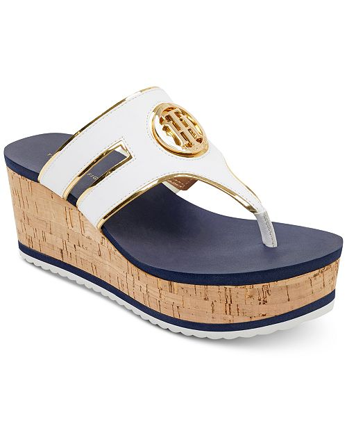 Tommy Hilfiger Galley Thong Platform Wedge Sandals Women's Shoes yEYuvouq