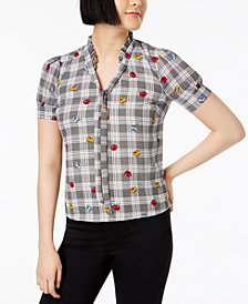Maison Jules Printed Ruffled-Collar Top, Created for Macy's