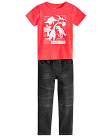 Epic Threads Toddler Boys Graphic-Print T-Shirt & Moto Denim Jeans Separates, Created for Macy's