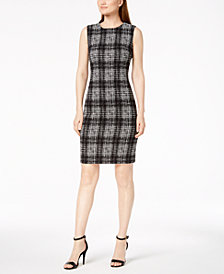 Calvin Klein Plaid Sleeveless Sheath Dress