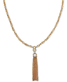 "Diamond Tassel 27-3/4"" Pendant Necklace (1/2 ct. t.w.) in 14k Gold-Plated Sterling Silver"