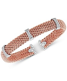 Diamond Mesh-Look Station Bangle Bracelet (1/4 ct. t.w.) in Sterling Silver & 14k Rose Gold-Plated Sterling Silver