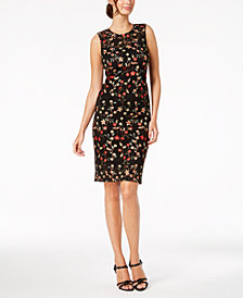Calvin Klein Floral-Embroidered Lace Dress