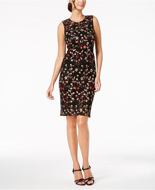 d7d292d9e9f3 Calvin Klein Floral-Embroidered Lace Dress   Reviews - Dresses ...