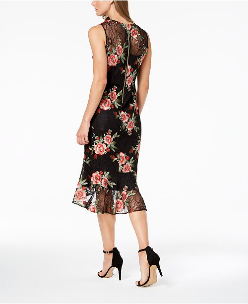 2cbba4637279 Calvin Klein Embroidered-Lace Illusion Sheath Dress   Reviews ...