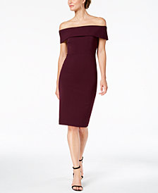 Calvin Klein Petite Off-The-Shoulder Scuba Crepe Dress