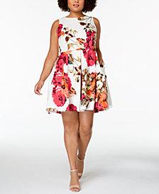Taylor Plus Size Floral-Print Fit & Flare Dress