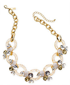 "I.N.C. Gold-Tone Crystal & Stone Link Statement Necklace, 19"" + 3"" extender, Created for Macy's"