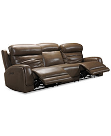 "Winterton 113"" 3-Pc. Leather Power Reclining Sofa With 2 Power Recliners, Power Headrests, Lumbar And USB Power Outlet"